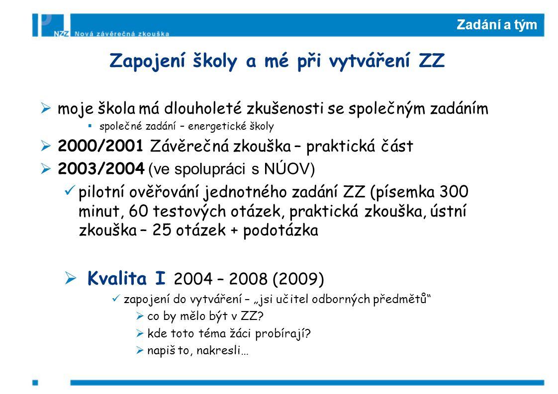 """Zadání a tým Zapojení školy a mé při vytváření ZZ  moje škola má dlouholeté zkušenosti se společným zadáním  společné zadání – energetické školy  2000/2001 Závěrečná zkouška – praktická část  2003/2004 (ve spolupráci s NÚOV) pilotní ověřování jednotného zadání ZZ (písemka 300 minut, 60 testových otázek, praktická zkouška, ústní zkouška – 25 otázek + podotázka  Kvalita I 2004 – 2008 (2009) zapojení do vytváření – """"jsi učitel odborných předmětů  co by mělo být v ZZ."""