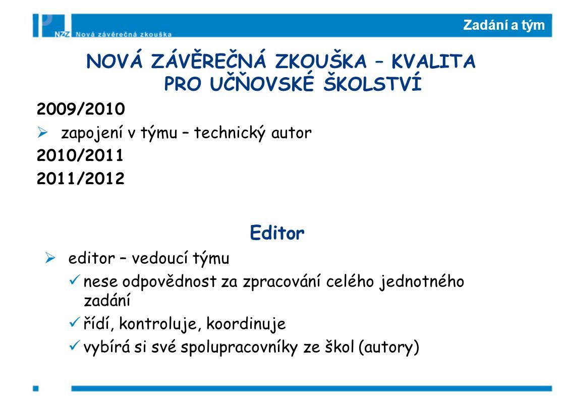 Zadání a tým NOVÁ ZÁVĚREČNÁ ZKOUŠKA – KVALITA PRO UČŇOVSKÉ ŠKOLSTVÍ 2009/2010  zapojení v týmu – technický autor 2010/2011 2011/2012 Editor  editor