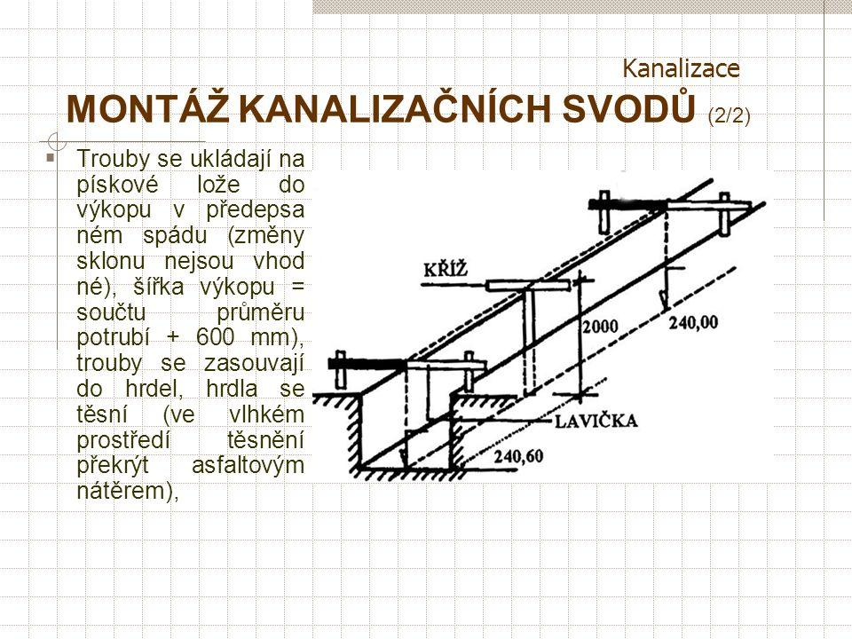 Kanalizace MONTÁŽ KANALIZAČNÍCH SVODŮ (1/2)  Vnitřní kanalizace se klade od kanalizační přípojky → hlavní ležatý svod → vedlejší svody → svislé odpad