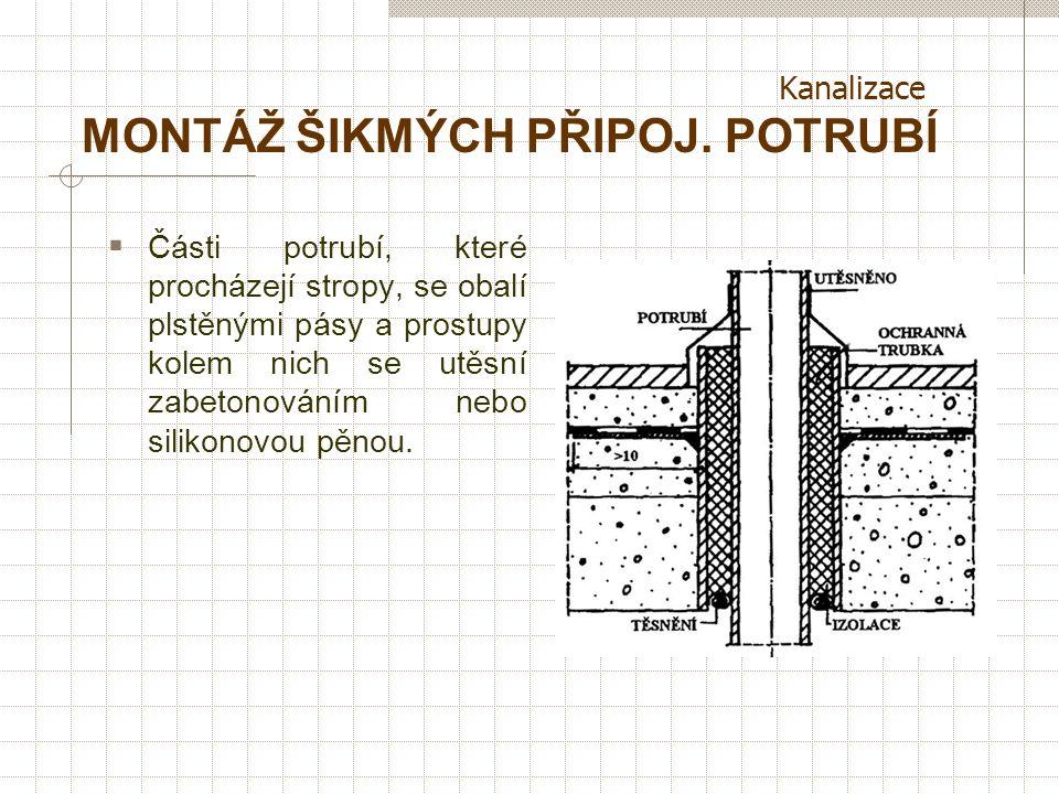 Kanalizace MONTÁŽ ŠIKMÝCH PŘIPOJ. POTRUBÍ  Zhotovovat co nejkratší, vodorovná vzdálenost max. 3 m (bez dodatečného přivětrávání),u WC max.1,5m, upevn