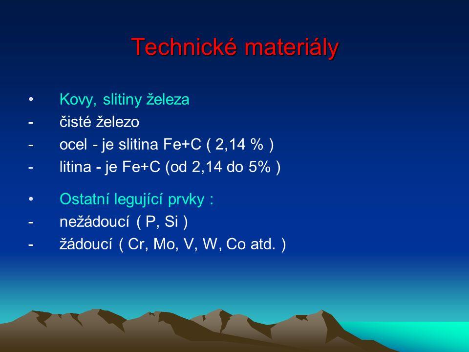 Kovy, slitiny železa - čisté železo -ocel - je slitina Fe+C ( 2,14 % ) -litina - je Fe+C (od 2,14 do 5% ) Ostatní legující prvky : -nežádoucí ( P, Si ) -žádoucí ( Cr, Mo, V, W, Co atd.
