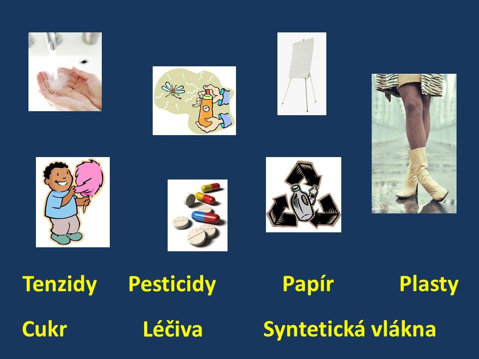 Plasty Syntetická vlákna Papír Tenzidy Cukr Pesticidy Léčiva