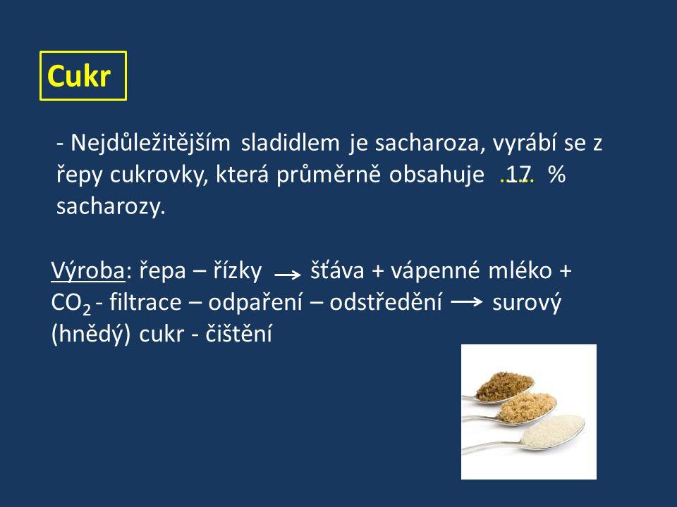Cukr - Nejdůležitějším sladidlem je sacharoza, vyrábí se z řepy cukrovky, která průměrně obsahuje …… % sacharozy.
