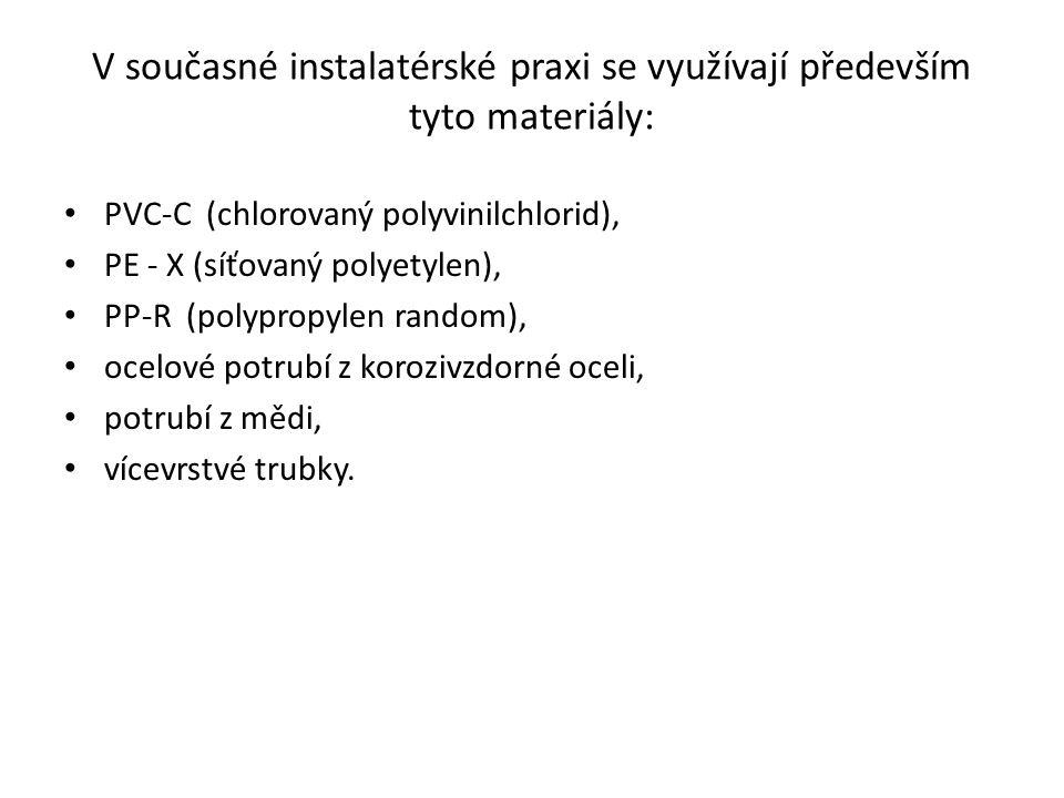 Polyvinylchlorid (PVC) Pro rozvody vody se v omezené míře používají potrubí z chlorovaného polyvinylchloridu (PVC-C).