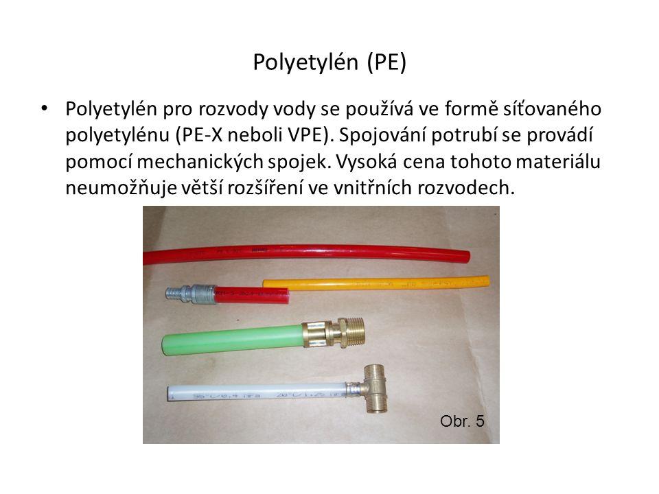 Polypropylen (PP-R) Polypropylen typu 3 je nejrozšířenější materiál pro vnitřní rozvody studené a teplé vody.