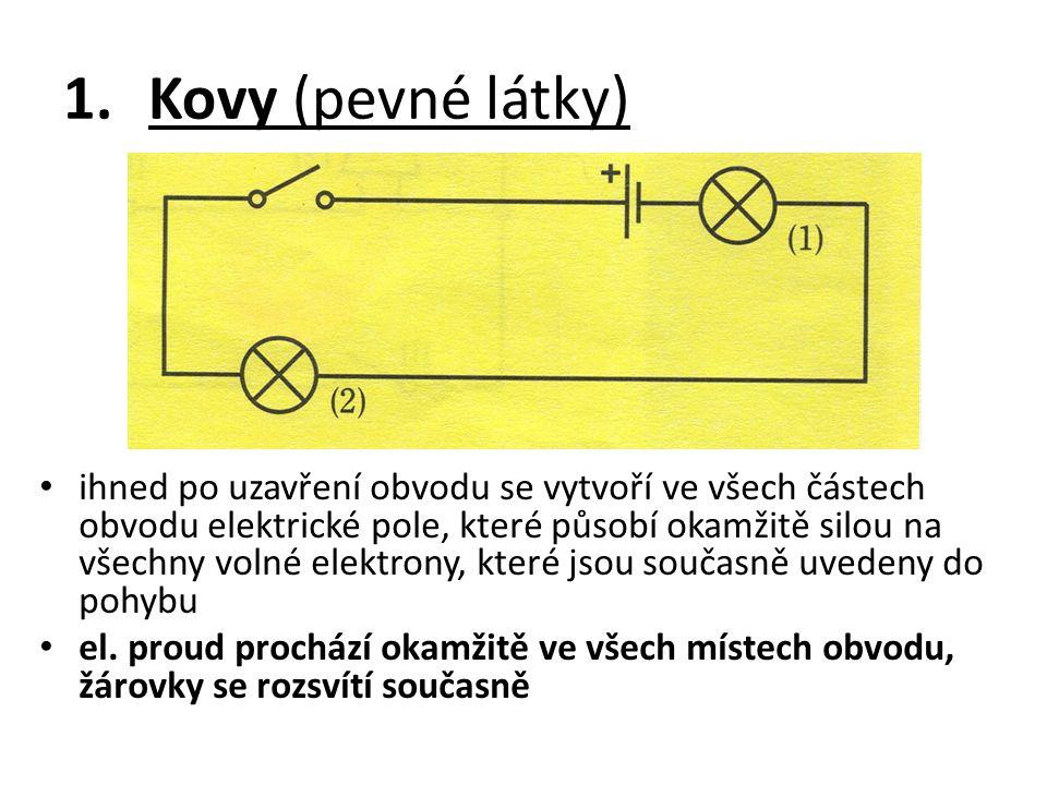 1.Kovy (pevné látky) ihned po uzavření obvodu se vytvoří ve všech částech obvodu elektrické pole, které působí okamžitě silou na všechny volné elektro