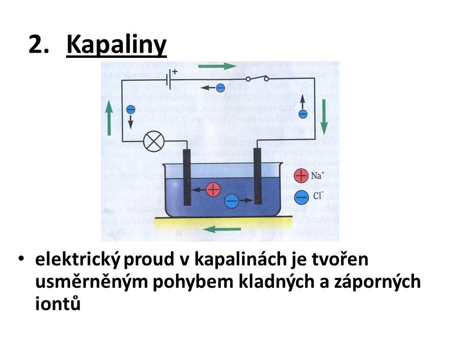 2.Kapaliny elektrický proud v kapalinách je tvořen usměrněným pohybem kladných a záporných iontů