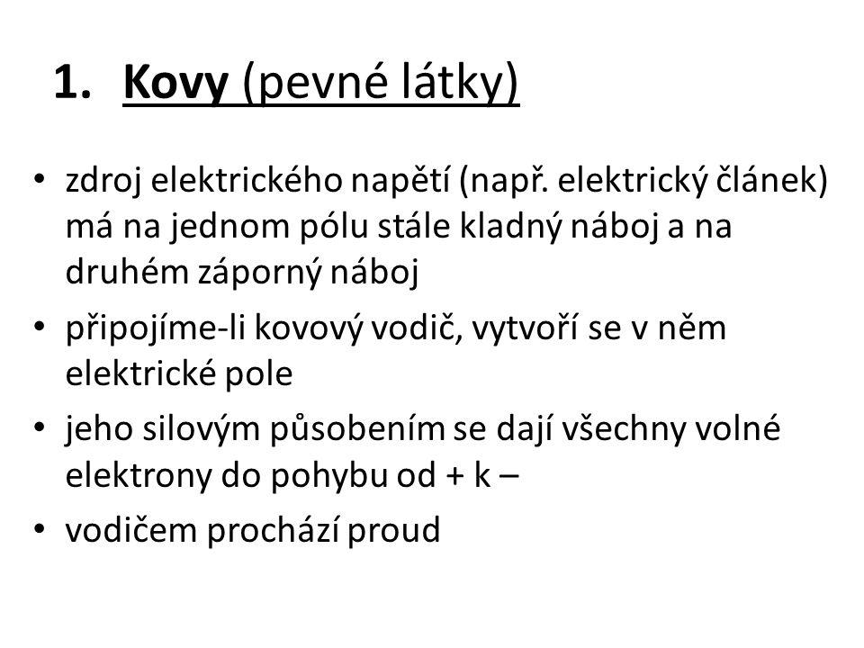 1.Kovy (pevné látky) zdroj elektrického napětí (např. elektrický článek) má na jednom pólu stále kladný náboj a na druhém záporný náboj připojíme-li k