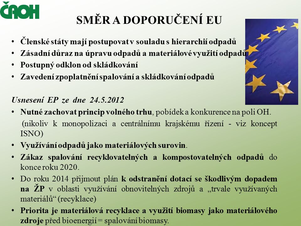 SMĚR A DOPORUČENÍ EU Členské státy mají postupovat v souladu s hierarchií odpadů Zásadní důraz na úpravu odpadů a materiálové využití odpadů Postupný odklon od skládkování Zavedení zpoplatnění spalování a skládkování odpadů Usnesení EP ze dne 24.5.2012 Nutné zachovat princip volného trhu, pobídek a konkurence na poli OH.