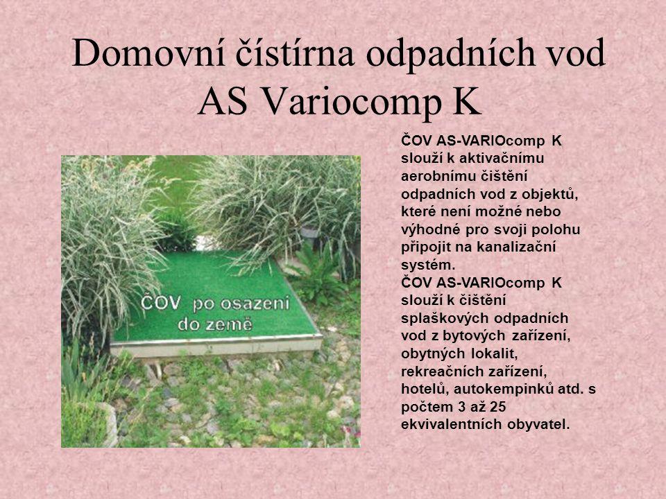 ČOV AS-VARIOcomp K slouží k aktivačnímu aerobnímu čištění odpadních vod z objektů, které není možné nebo výhodné pro svoji polohu připojit na kanalizační systém.