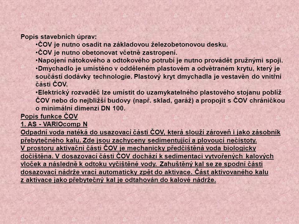 Popis stavebních úprav: ČOV je nutno osadit na základovou železobetonovou desku.