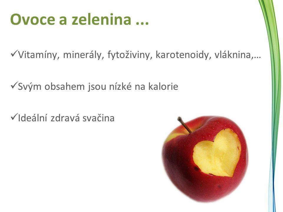 Ovoce a zelenina... Vitamíny, minerály, fytoživiny, karotenoidy, vláknina,… Svým obsahem jsou nízké na kalorie Ideální zdravá svačina
