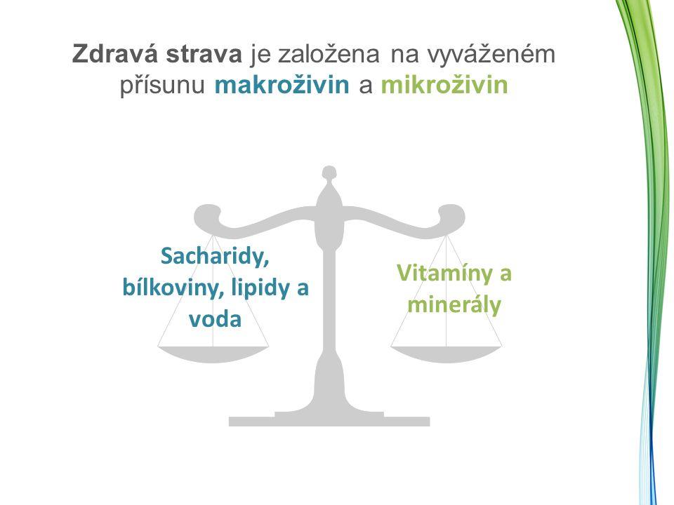 Zdravá strava je založena na vyváženém přísunu makroživin a mikroživin Sacharidy, bílkoviny, lipidy a voda Vitamíny a minerály