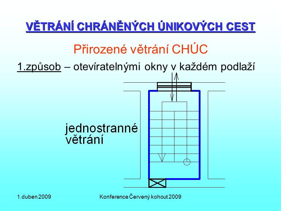 1.duben 2009Konference Červený kohout 2009 VĚTRÁNÍ CHRÁNĚNÝCH ÚNIKOVÝCH CEST Přirozené větrání CHÚC 1.způsob – otevíratelnými okny v každém podlaží