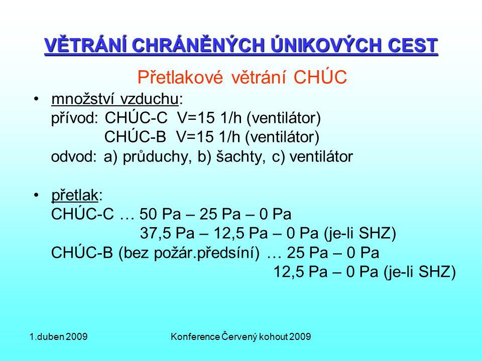 1.duben 2009Konference Červený kohout 2009 VĚTRÁNÍ CHRÁNĚNÝCH ÚNIKOVÝCH CEST Přetlakové větrání CHÚC množství vzduchu: přívod: CHÚC-C V=15 1/h (ventilátor) CHÚC-B V=15 1/h (ventilátor) odvod: a) průduchy, b) šachty, c) ventilátor přetlak: CHÚC-C … 50 Pa – 25 Pa – 0 Pa 37,5 Pa – 12,5 Pa – 0 Pa (je-li SHZ) CHÚC-B (bez požár.předsíní) … 25 Pa – 0 Pa 12,5 Pa – 0 Pa (je-li SHZ)