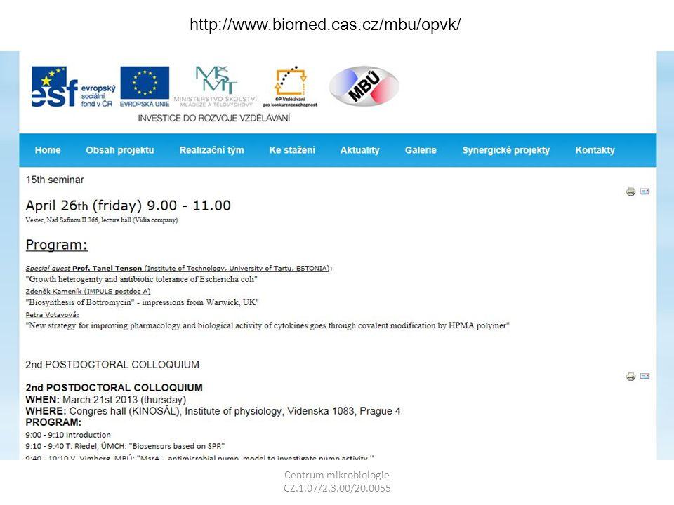 Centrum mikrobiologie CZ.1.07/2.3.00/20.0055 http://www.biomed.cas.cz/mbu/opvk/