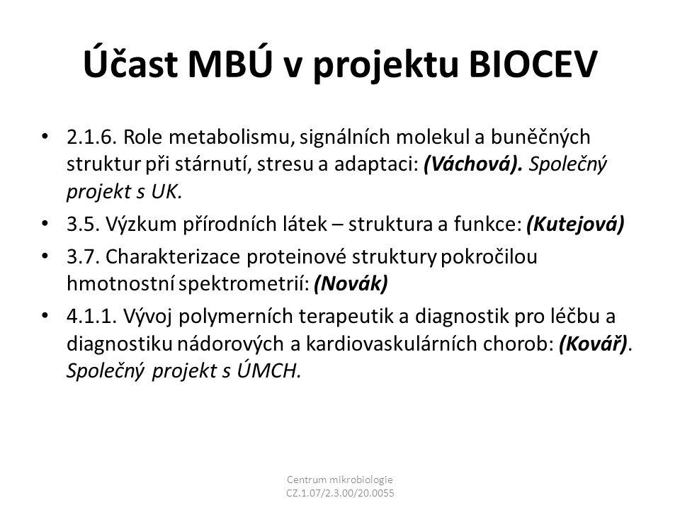 Účast MBÚ v projektu BIOCEV 2.1.6.