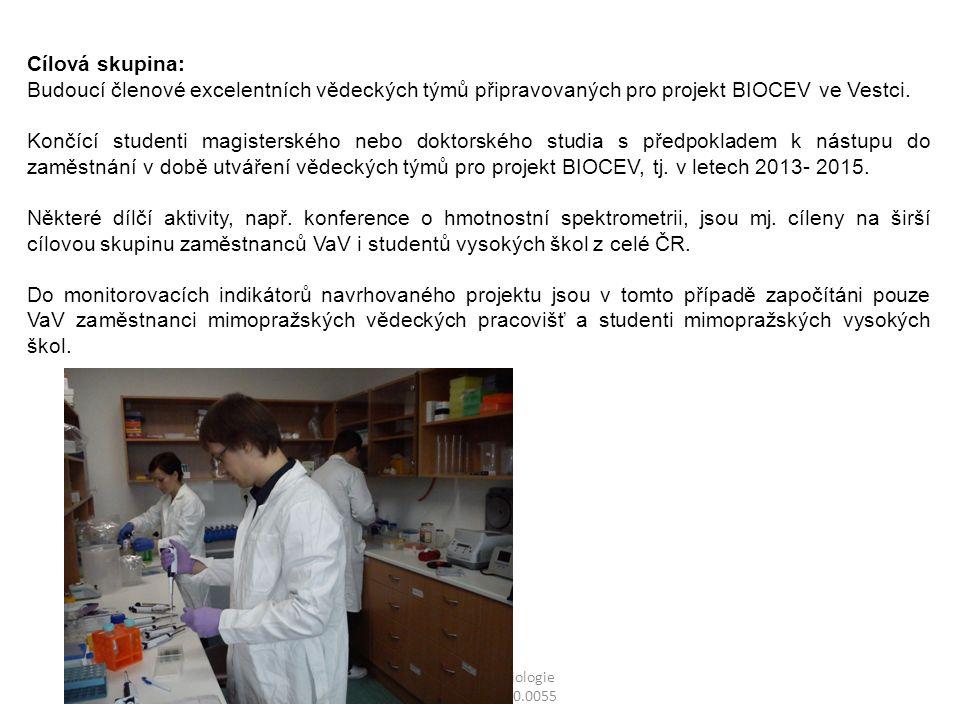 Centrum mikrobiologie CZ.1.07/2.3.00/20.0055 Cílová skupina: Budoucí členové excelentních vědeckých týmů připravovaných pro projekt BIOCEV ve Vestci.