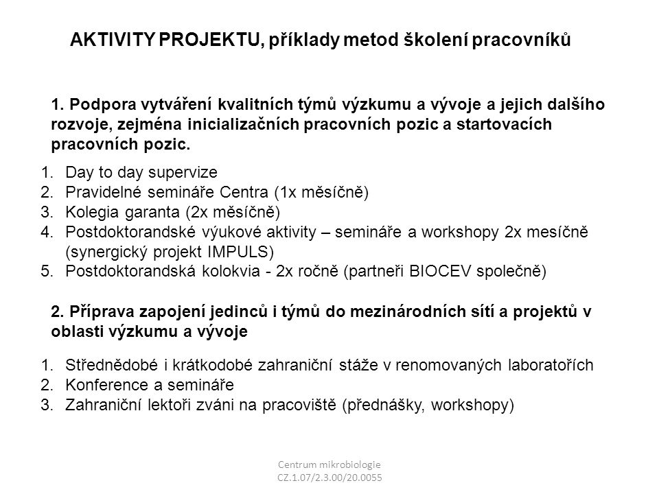 Centrum mikrobiologie CZ.1.07/2.3.00/20.0055 1.