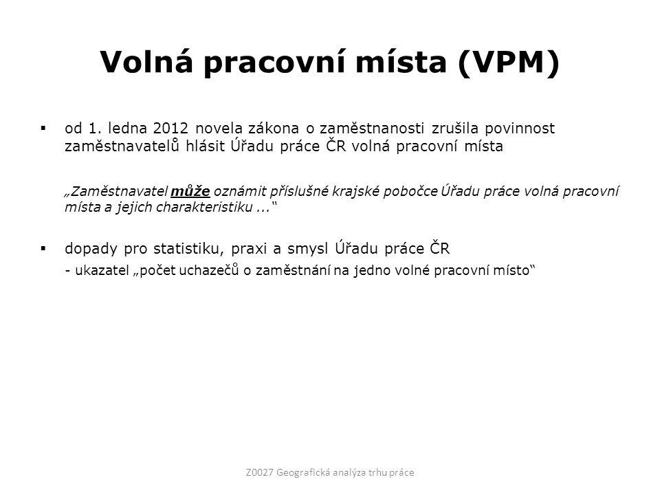 Volná pracovní místa (VPM)  od 1.