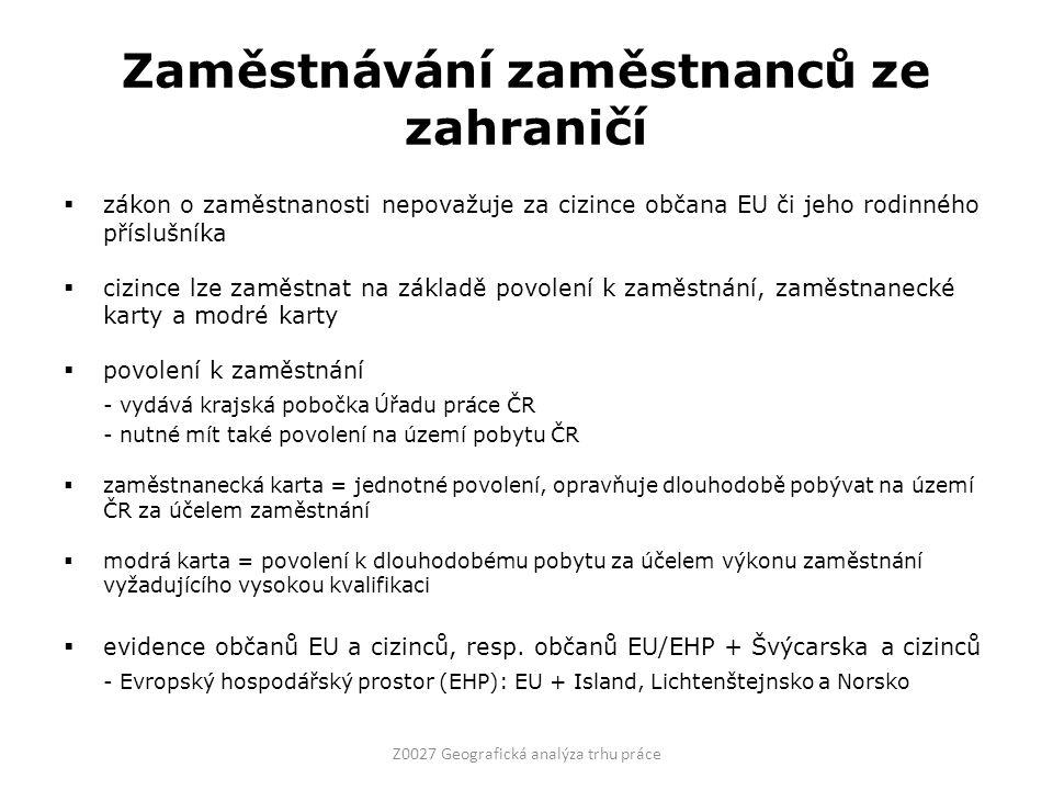 Zaměstnávání zaměstnanců ze zahraničí  zákon o zaměstnanosti nepovažuje za cizince občana EU či jeho rodinného příslušníka  cizince lze zaměstnat na základě povolení k zaměstnání, zaměstnanecké karty a modré karty  povolení k zaměstnání - vydává krajská pobočka Úřadu práce ČR - nutné mít také povolení na území pobytu ČR  zaměstnanecká karta = jednotné povolení, opravňuje dlouhodobě pobývat na území ČR za účelem zaměstnání  modrá karta = povolení k dlouhodobému pobytu za účelem výkonu zaměstnání vyžadujícího vysokou kvalifikaci  evidence občanů EU a cizinců, resp.
