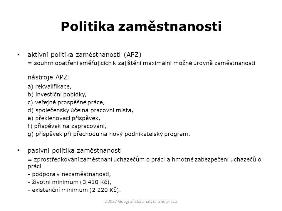Politika zaměstnanosti  aktivní politika zaměstnanosti (APZ) = souhrn opatření směřujících k zajištění maximální možné úrovně zaměstnanosti nástroje APZ: a) rekvalifikace, b) investiční pobídky, c) veřejně prospěšné práce, d) společensky účelná pracovní místa, e) překlenovací příspěvek, f) příspěvek na zapracování, g) příspěvek při přechodu na nový podnikatelský program.