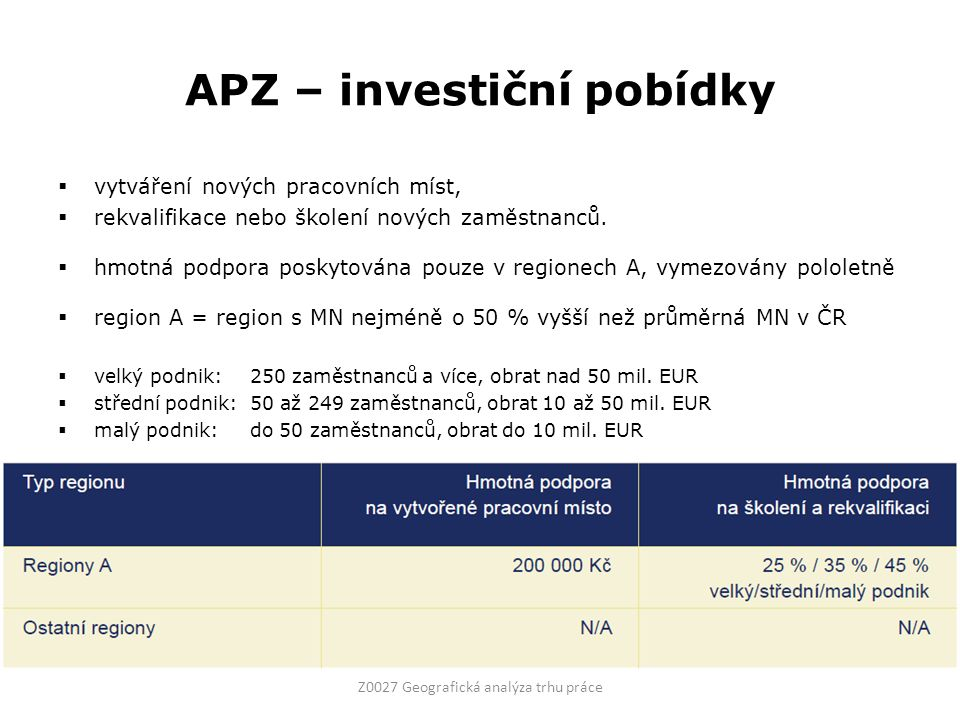 APZ – investiční pobídky  vytváření nových pracovních míst,  rekvalifikace nebo školení nových zaměstnanců.