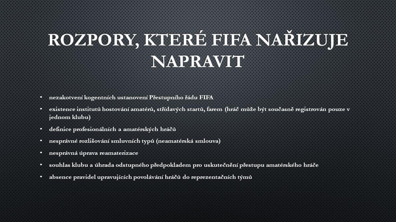 nezakotvení kogentních ustanovení Přestupního řádu FIFA nezakotvení kogentních ustanovení Přestupního řádu FIFA existence institutů hostování amatérů, střídavých startů, farem (hráč může být současně registrován pouze v jednom klubu) existence institutů hostování amatérů, střídavých startů, farem (hráč může být současně registrován pouze v jednom klubu) definice profesionálních a amatérských hráčů definice profesionálních a amatérských hráčů nesprávné rozlišování smluvních typů (neamatérská smlouva) nesprávné rozlišování smluvních typů (neamatérská smlouva) nesprávná úprava reamaterizace nesprávná úprava reamaterizace souhlas klubu a úhrada odstupného předpokladem pro uskutečnění přestupu amatérského hráče souhlas klubu a úhrada odstupného předpokladem pro uskutečnění přestupu amatérského hráče absence pravidel upravujících povolávání hráčů do reprezentačních týmů absence pravidel upravujících povolávání hráčů do reprezentačních týmů