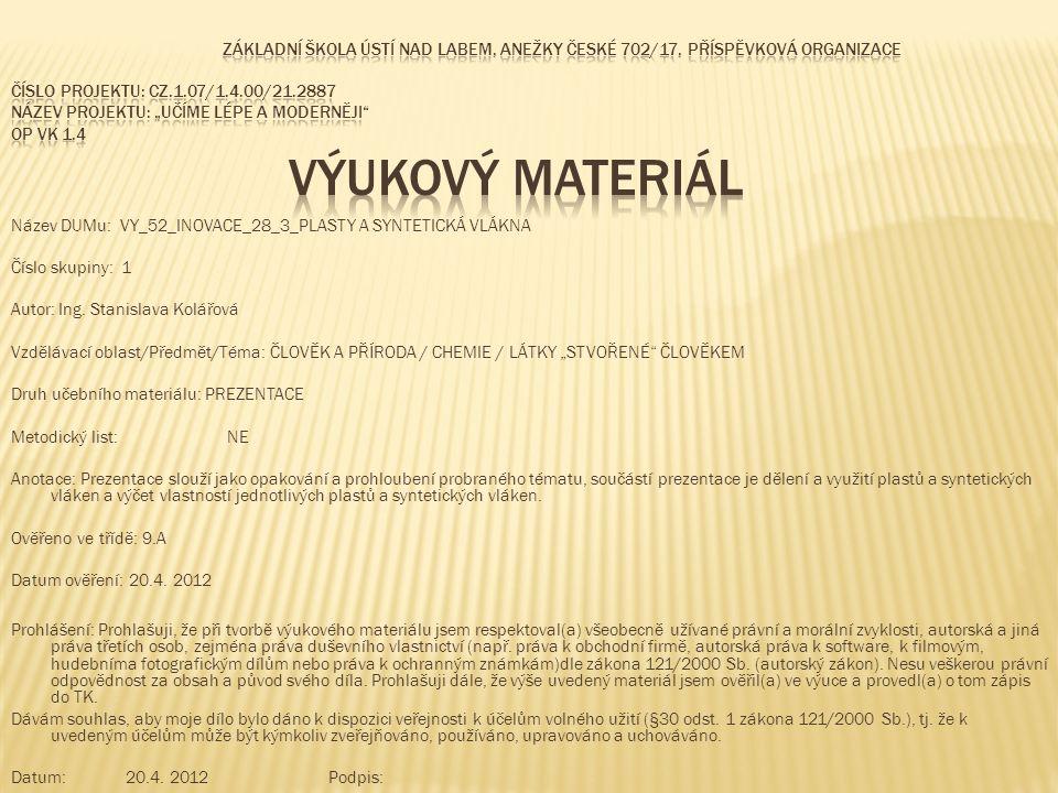 Název DUMu: VY_52_INOVACE_28_3_PLASTY A SYNTETICKÁ VLÁKNA Číslo skupiny: 1 Autor: Ing.