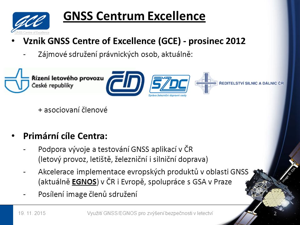 image ©: ESA Vznik GNSS Centre of Excellence (GCE) - prosinec 2012 -Zájmové sdružení právnických osob, aktuálně: + asociovaní členové Primární cíle Centra: -Podpora vývoje a testování GNSS aplikací v ČR (letový provoz, letiště, železniční i silniční doprava) -Akcelerace implementace evropských produktů v oblasti GNSS (aktuálně EGNOS) v ČR i Evropě, spolupráce s GSA v Praze -Posílení image členů sdružení GNSS Centrum Excellence 19.