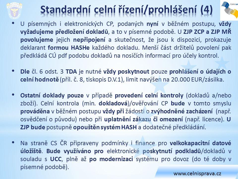 U písemných i elektronických CP, podaných nyní v běžném postupu, vždy vyžadujeme předložení dokladů, a to v písemné podobě.