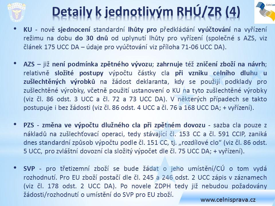 KU - nově sjednocení standardní lhůty pro předkládání vyúčtování na vyřízení režimu na dobu do 30 dnů od uplynutí lhůty pro vyřízení (společné s AZS, viz článek 175 UCC DA – údaje pro vyúčtování viz příloha 71-06 UCC DA).