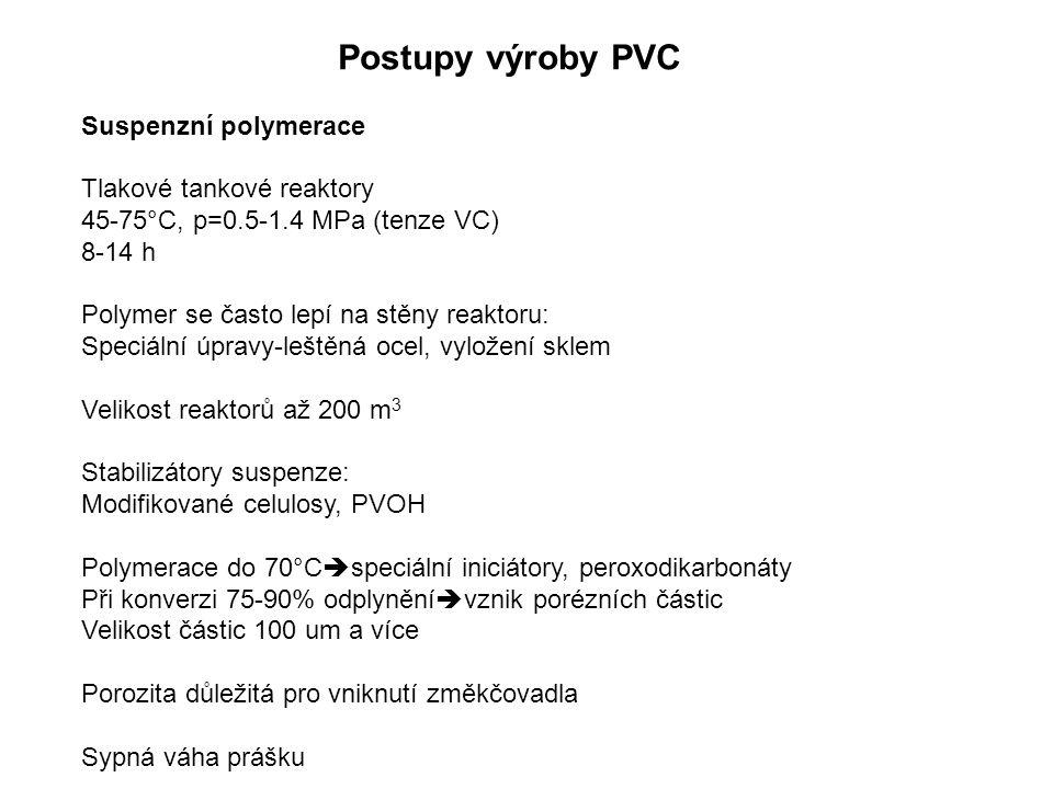 Postupy výroby PVC Suspenzní polymerace Tlakové tankové reaktory 45-75°C, p=0.5-1.4 MPa (tenze VC) 8-14 h Polymer se často lepí na stěny reaktoru: Spe