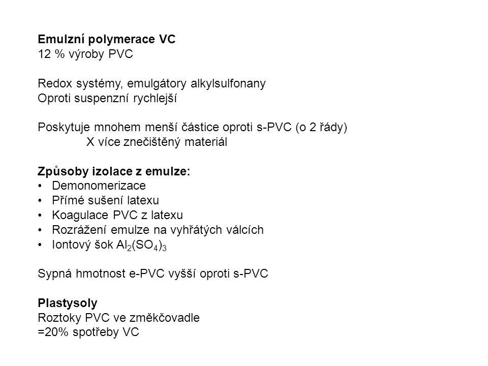 Emulzní polymerace VC 12 % výroby PVC Redox systémy, emulgátory alkylsulfonany Oproti suspenzní rychlejší Poskytuje mnohem menší částice oproti s-PVC