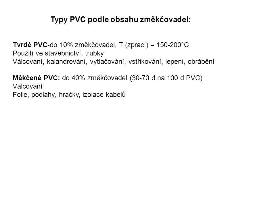 Typy PVC podle obsahu změkčovadel: Tvrdé PVC-do 10% změkčovadel, T (zprac.) = 150-200°C Použití ve stavebnictví, trubky Válcování, kalandrování, vytlačování, vstřikování, lepení, obrábění Měkčené PVC: do 40% změkčovadel (30-70 d na 100 d PVC) Válcování Folie, podlahy, hračky, izolace kabelů