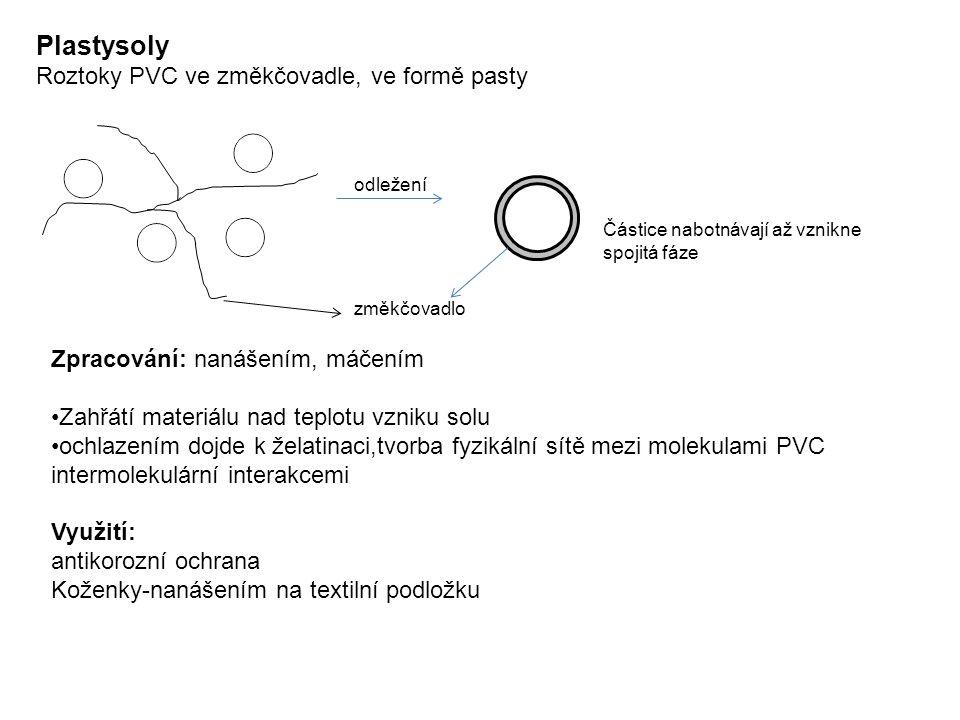odležení změkčovadlo Částice nabotnávají až vznikne spojitá fáze Zpracování: nanášením, máčením Zahřátí materiálu nad teplotu vzniku solu ochlazením dojde k želatinaci,tvorba fyzikální sítě mezi molekulami PVC intermolekulární interakcemi Využití: antikorozní ochrana Koženky-nanášením na textilní podložku Plastysoly Roztoky PVC ve změkčovadle, ve formě pasty