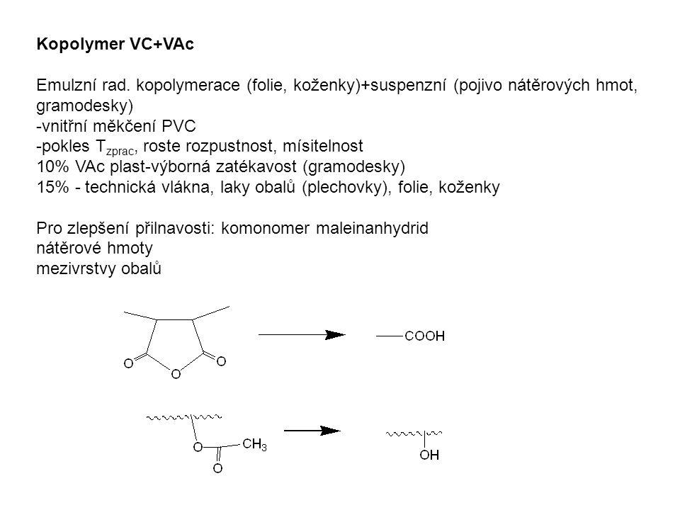 Kopolymer VC+VAc Emulzní rad. kopolymerace (folie, koženky)+suspenzní (pojivo nátěrových hmot, gramodesky) -vnitřní měkčení PVC -pokles T zprac, roste