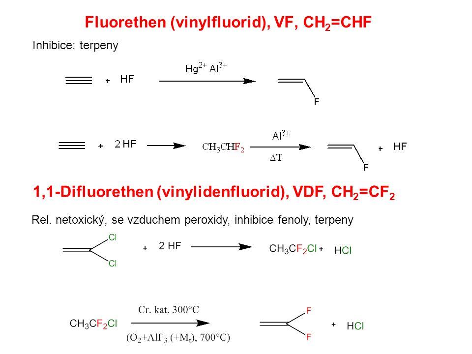 Fluorethen (vinylfluorid), VF, CH 2 =CHF 1,1-Difluorethen (vinylidenfluorid), VDF, CH 2 =CF 2 Rel. netoxický, se vzduchem peroxidy, inhibice fenoly, t