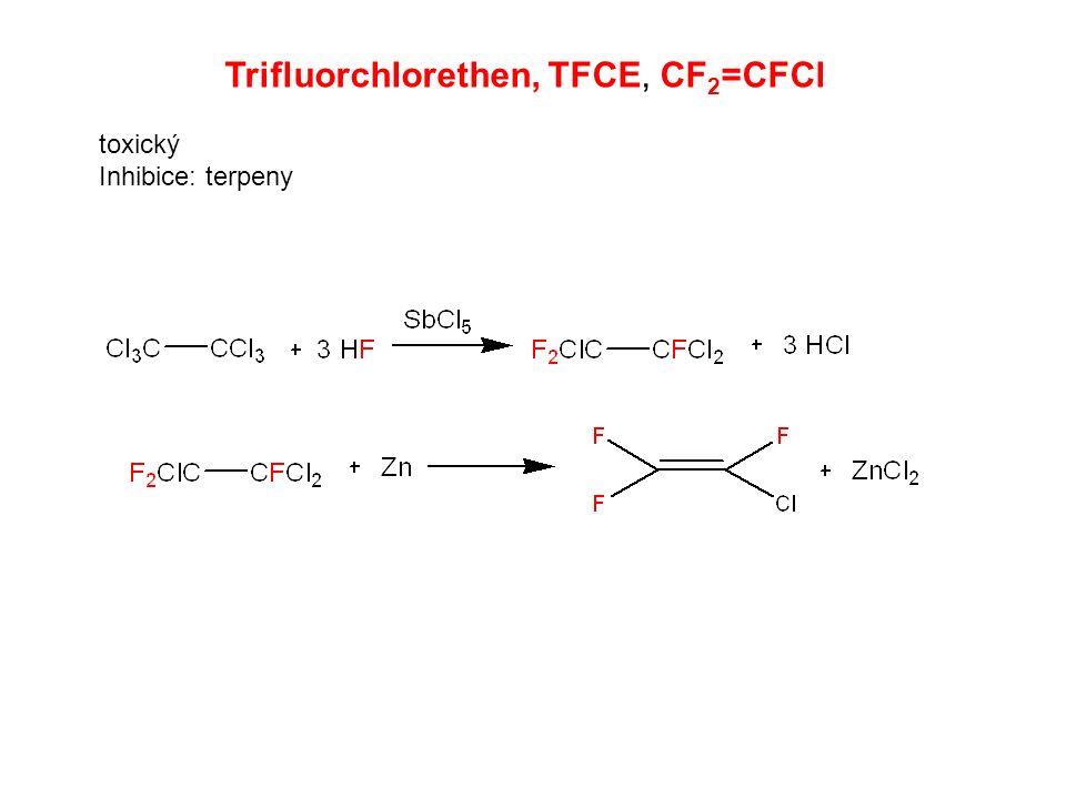 Trifluorchlorethen, TFCE, CF 2 =CFCl toxický Inhibice: terpeny