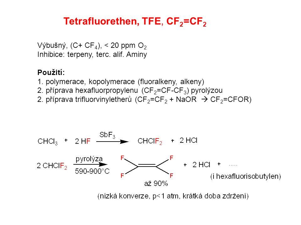 Tetrafluorethen, TFE, CF 2 =CF 2 Výbušný, (C+ CF 4 ), < 20 ppm O 2 Inhibice: terpeny, terc. alif. Aminy Použití: 1. polymerace, kopolymerace (fluoralk
