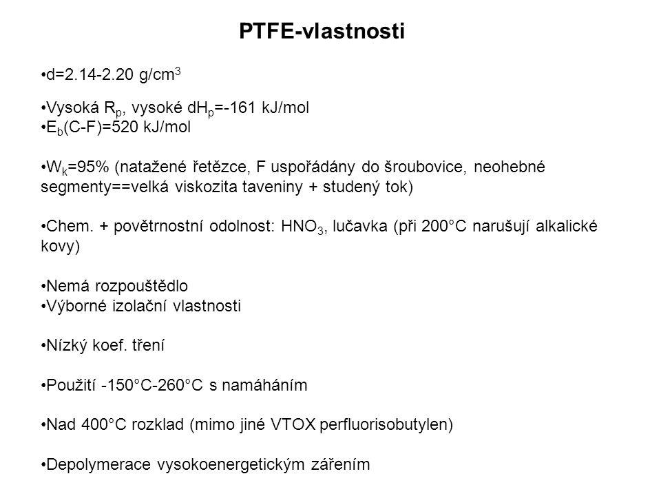 PTFE-vlastnosti d=2.14-2.20 g/cm 3 Vysoká R p, vysoké dH p =-161 kJ/mol E b (C-F)=520 kJ/mol W k =95% (natažené řetězce, F uspořádány do šroubovice, neohebné segmenty==velká viskozita taveniny + studený tok) Chem.