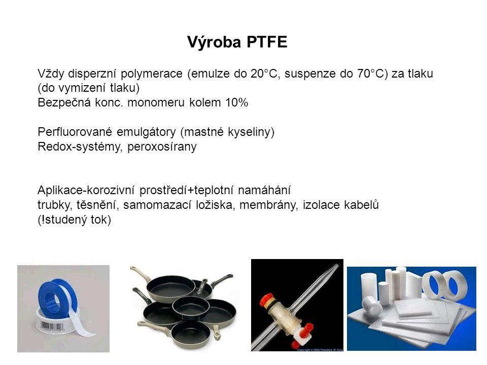Výroba PTFE Vždy disperzní polymerace (emulze do 20°C, suspenze do 70°C) za tlaku (do vymizení tlaku) Bezpečná konc. monomeru kolem 10% Perfluorované