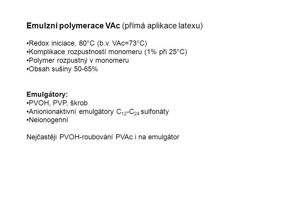 Emulzní polymerace VAc (přímá aplikace latexu) Redox iniciace, 80°C (b.v. VAc=73°C) Komplikace rozpustností monomeru (1% při 25°C) Polymer rozpustný v