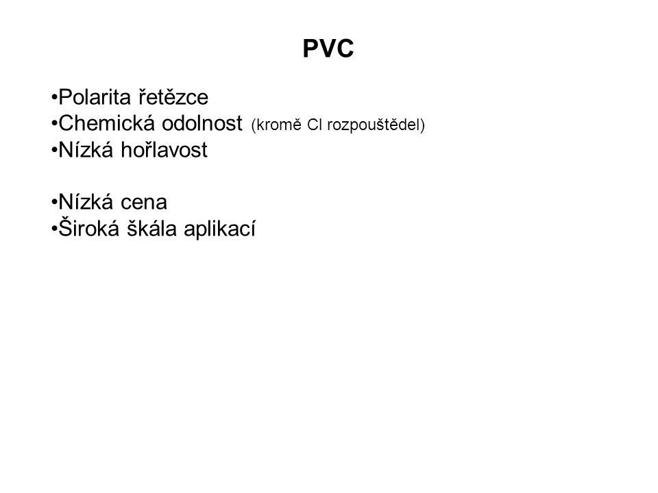 Modifikace PVC Chlorace PVC: v roztoku CCl 4, rad., dT, p v suspenzi ve fluidní vrstvě Chlorace do 65% Cl Chloruje se převážně –CH 2 - Spíše statistický proces Zlepšení rozpustnosti  technická vlákna z acetonového roztoku chemicky odolné nátěry lepidlo na PVC
