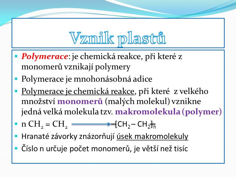  Polymerace: je chemická reakce, při které z monomerů vznikají polymery  Polymerace je mnohonásobná adice  Polymerace je chemická reakce, při které z velkého množství monomerů (malých molekul) vznikne jedná velká molekula tzv.