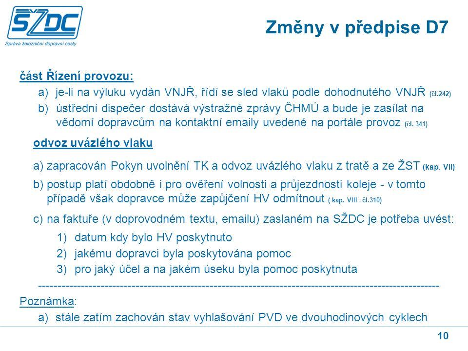 10 část Řízení provozu: a)je-li na výluku vydán VNJŘ, řídí se sled vlaků podle dohodnutého VNJŘ (čl.242) b)ústřední dispečer dostává výstražné zprávy ČHMÚ a bude je zasílat na vědomí dopravcům na kontaktní emaily uvedené na portále provoz (čl.