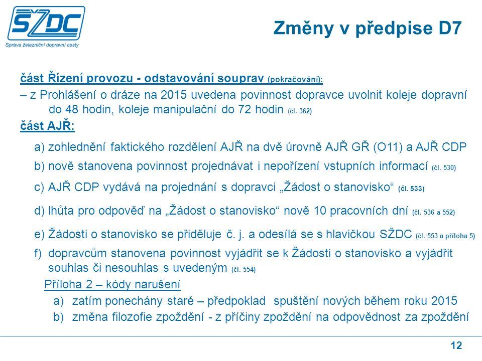 12 část Řízení provozu - odstavování souprav (pokračování): – z Prohlášení o dráze na 2015 uvedena povinnost dopravce uvolnit koleje dopravní do 48 hodin, koleje manipulační do 72 hodin (čl.