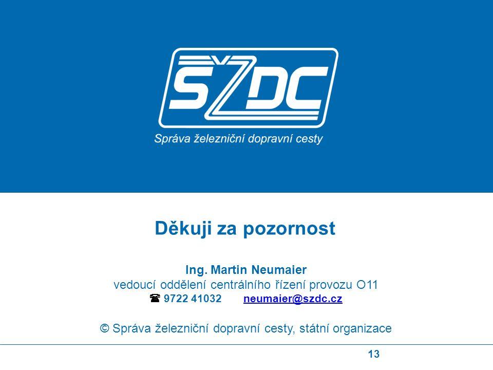 13 Ing. Martin Neumaier vedoucí oddělení centrálního řízení provozu O11  9722 41032 neumaier@szdc.czneumaier@szdc.cz © Správa železniční dopravní ces