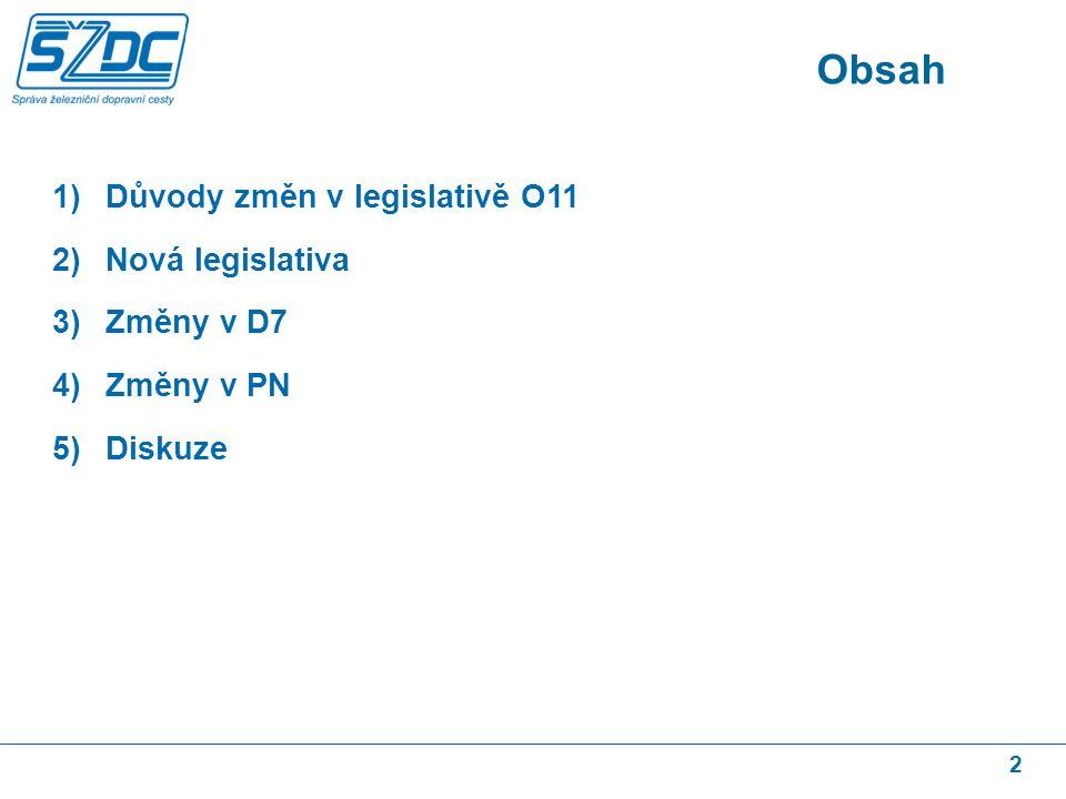 2 1)Důvody změn v legislativě O11 2)Nová legislativa 3)Změny v D7 4)Změny v PN 5)Diskuze Obsah