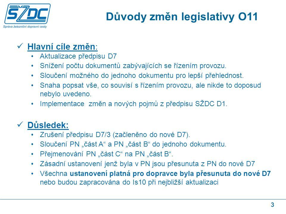 3 Hlavní cíle změn: Aktualizace předpisu D7 Snížení počtu dokumentů zabývajících se řízením provozu.